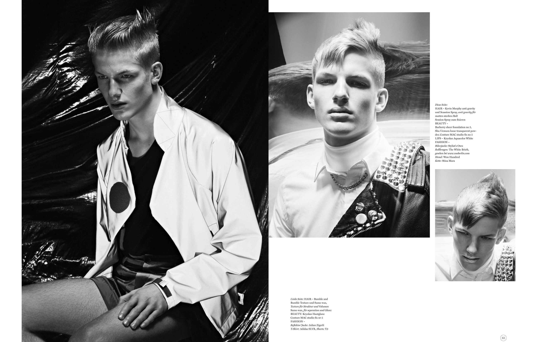 74 Magazine, Production Dominik Schatz, Stylist Paul Maximilian Schlosser, Hairstylist Dirk Walther,  Model Marcel Bogaczyk, Detlef Schneider Photography