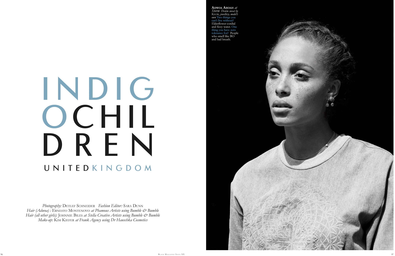 Black Magazine, Indig Children, Fashion Editorial, Fashion Editor Sara Dunn, Hair Ernesto Montenovo & Johnnie Biles, Make-up Kim Kiefer, Detlef Schneider Photography